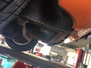bottom of front radiator support and heavy front sway bar